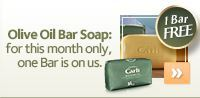 Olive Oil Bar Soap: for this month only, one Bar is on us.
