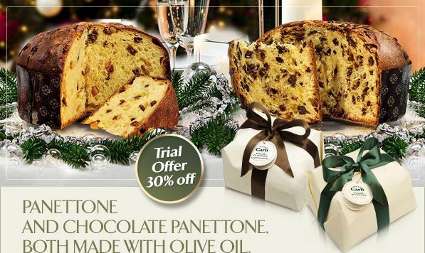 Panettone and Chocolate Panettone boht made with Olive Oil.